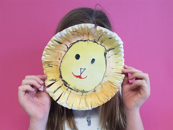 Arts And Crafts Disguise Kids Pink Artsy Photography Discovery Easy Crafts Holding Human Body Part Indoors  Kids Crafts Kids Mask Kidsphotography Lion Mask Mask Mask - Disguise One Person Paper Plate Paper Plate Mask Pink Color Real People Visual Creativity
