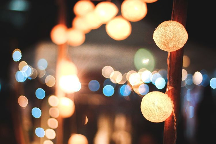 Night Lights Bokeh City Defocused Illuminated Representing Hanging Celebration Christmas Lights Lighting Equipment Lantern Oil Lamp Electric Light Light Bulb