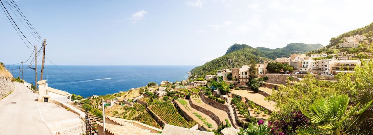 Architecture Majorca Mediterranean Sea Nature Panorama SPAIN Terrace Balearic Islands Banyalbufar Coast Horizon Over Water Landscape No People Scenics - Nature Summer Terraced Landscape Town Tranquil Scene Travel Destinations Village Vineyard Water Winery