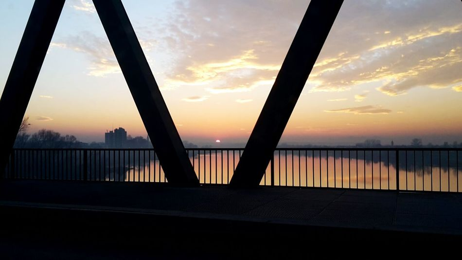 Sunset Sky Bridge - Man Made Structure Cloud - Sky Silhouette Business Finance And Industry Dusk Sea Water City Sun Horizon Over Water Beach Fog Tranquility Travel Destinations Bosnia And Herzegovina Brod Republika Srpska Sunlight Nature Outdoors Scenics Gold Puregold Breathing Space