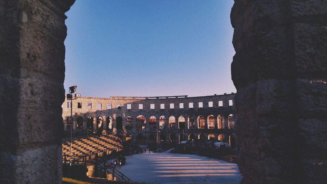 Amphitheatre Arena Roman Culture Sightseeing Evening Light City Ancient Civilization Old Ruin History Statue Ancient
