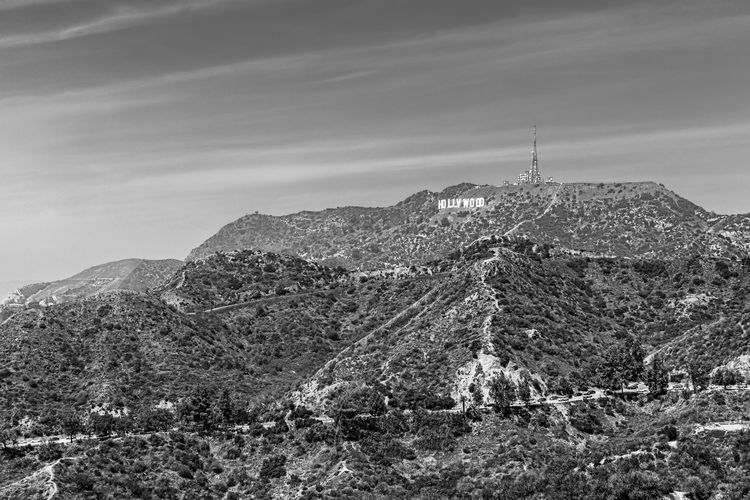 The famous Hill Los Angeles, California United States American Hollywood Hollywood Sign Monochrome Blackandwhite Famous Place Iconic Landmark Landscape Griffith Observatory Mountain Social Issues Sky Architecture Snowcapped Mountain Rocky Mountains Snow Geology Rock Formation Physical Geography Scenics Mountain Range