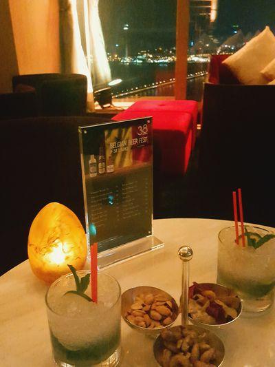 Drinking Glass Night Lights Macau Trip Macau Night Macau View Altira Hotel38층에서 마시는 마카오 모히또의 짜릿함이란♡
