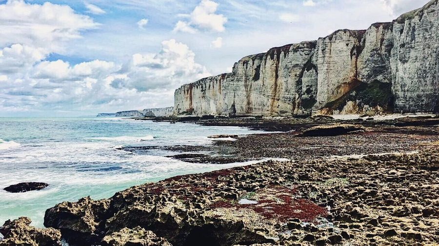 Normandy Rock Formation Normandie France Sea Sky Nature Scenics No People Water Alabasterküste Alabastercoast Coast Beach Paint The Town Yellow