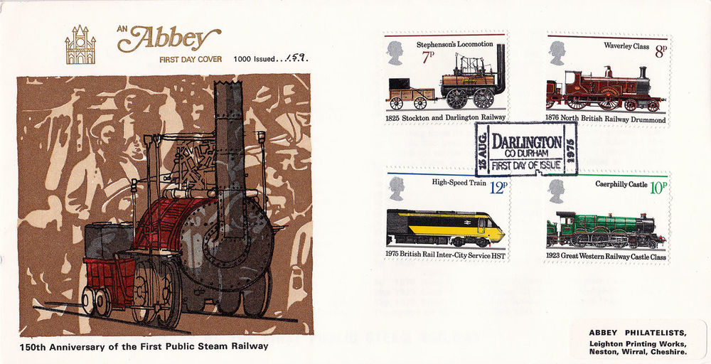 No People Stephensons Rocket 150th Anniversary Commemorative Stamps First Day Covers Stockton To Darlington Railways