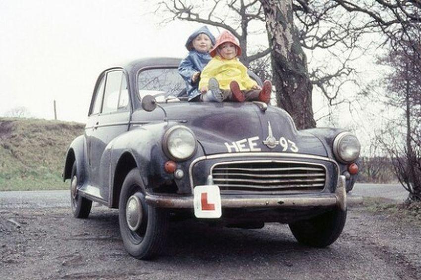 Old Car Kids Young Children Morris Minor Wreck Car 35mm Film Old Slide