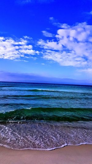 Water Sea Beach Sand Blue Summer Sky Horizon Over Water Landscape Cloud - Sky