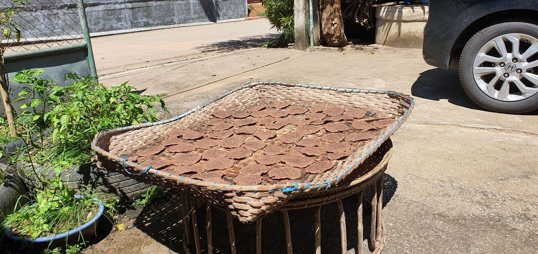 High angle view of food in basket on street