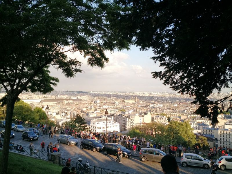 Tree Sky Car City Transportation Sunset Outdoors Large Group Of People Building Exterior Cityscape Architecture People Day Iloveparis Paris, France  Day City Views Urban Skyline Architecture I Love Paris! Peaking Through
