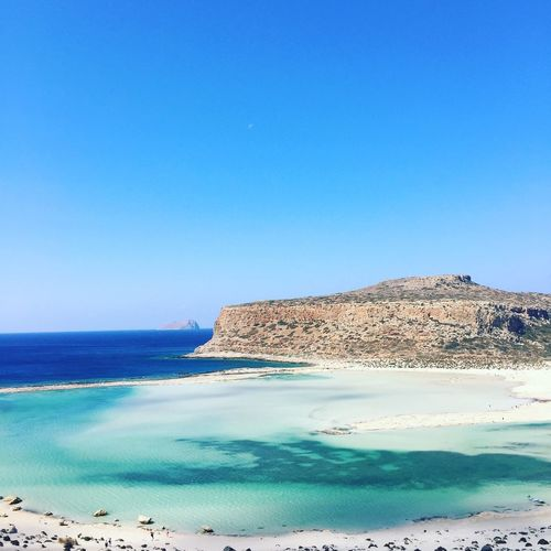 Blue Sea Tranquil Scene Copy Space Scenics Clear Sky Water Beauty In Nature Tranquility Horizon Over Water Greece Balos Nature Cliff Non-urban Scene Majestic Remote Distant Calm Seascape Tourism