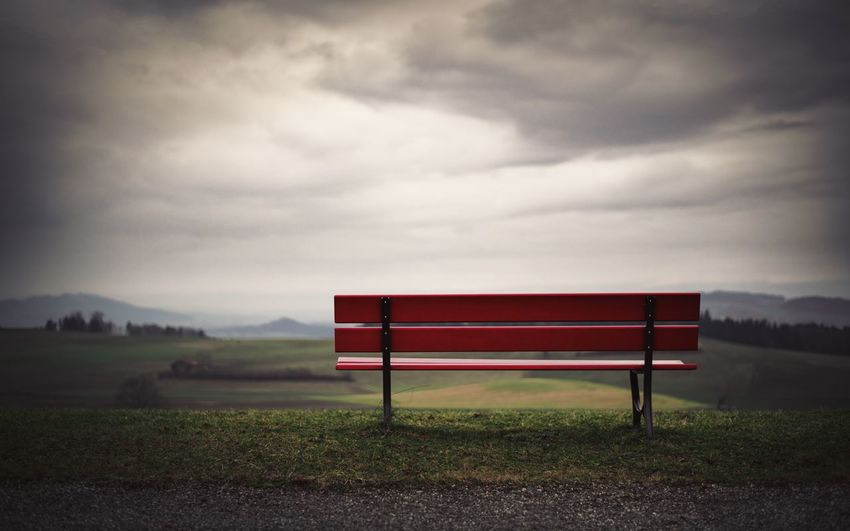 Bench Empty Bench Grass Vignette Cloud - Sky Clouds Landscape Lone Bench No People Outdoors Scenics Sky Shades Of Winter