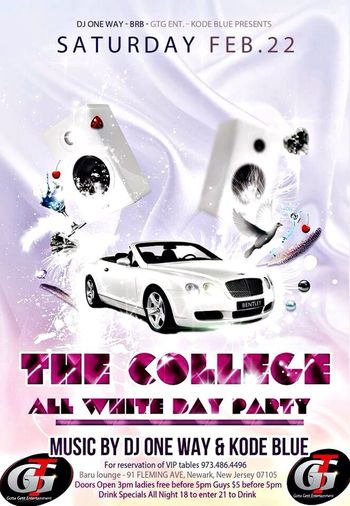 February 22 it all goes down at Barú lounge in Newark the Big All White College Affair 18 to get in 21 to drink. Bottle Service & VIP available. Music by @djoneway973 & @djkodeblue Doors Open at 3pm Ladies free before 5 & Guys $5 before 5pm