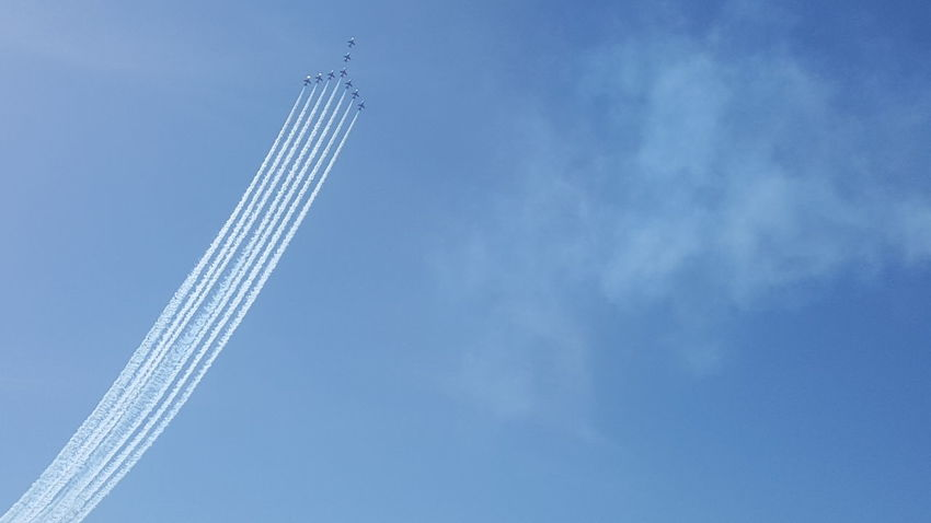 Red Arrows Red Arrows Air Display Blackpool Blue Sky Seaside Smoke Trails Jets Formation