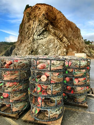 Outdoors Stack Basket Multi Colored Day Arrangement Sky Large Group Of Objects Mountain No People Fishing Equipment Beauty In Nature Nature Fishing Southern Oregon Oregon Coast Oregon Crab Cages Ocean Photography Marine Photography Marine Crabbing Nature Oceanlife Coast