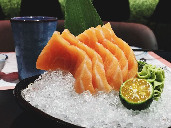 Salmon Food Freshness Healthy Eating Close-up Still Life Wellbeing Table Seafood Plate Japanese Food Fish Ready-to-eat Serving Size