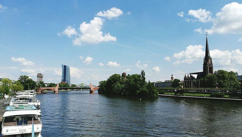 Sky Water Day Outdoors No People Travel Destinations City Cityscape Travel Deutschland Frankfurt Am Main Germany🇩🇪 Eiserner Steg Main River Rhine River Boat Church Landscape