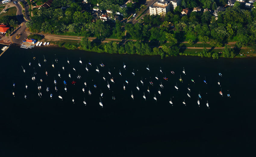 Aerial view of moored boats Aerial Boats Day Lake Moored Nautical Nautical Vessel Outdoors Water