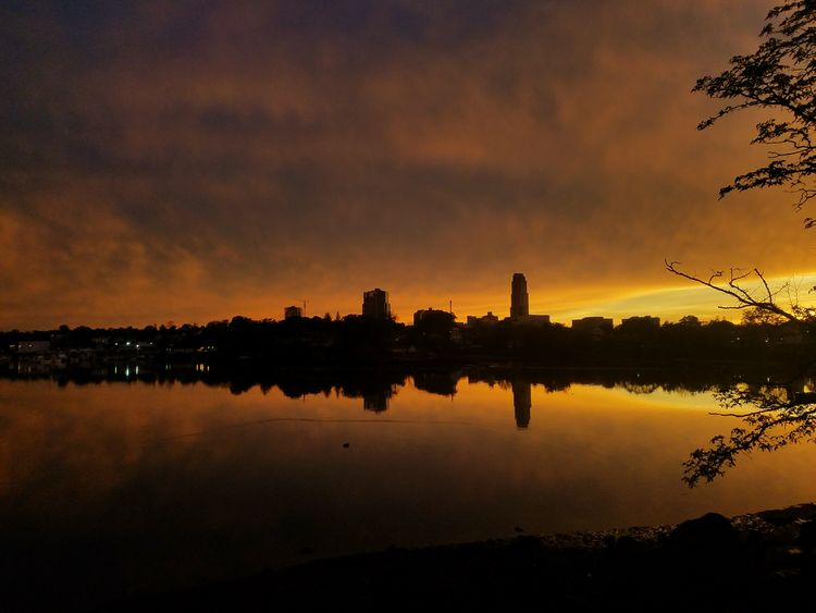 A perfect end to a stormy day!! Sunset photo taken at Five Islands Park, New Rochelle on May 15th, 2018. Orange Color Water City Sunset Beauty Tree Multi Colored Reflection River Adulation Urban Skyline