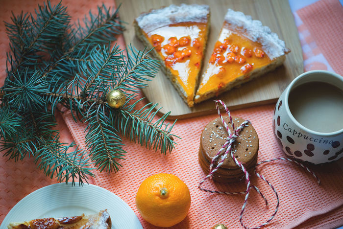 Winter Holiday Sweet Food Cakes Christmas Morning Cookies Dinner Food And Drink Morning Thanksgiving Cake Close-up Cozy Day Flat Lay Flat Lays Food Food And Drink Freshness Healthy Eating High Angle View Indoors  No People Pie Pies Plate Ready-to-eat Table