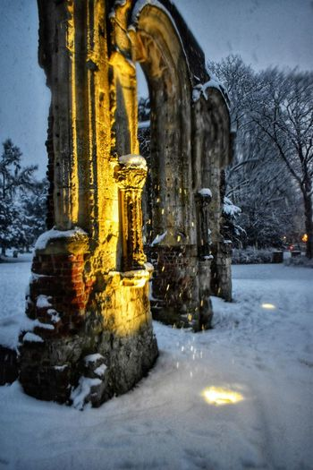 Photowalktheworld Snowing Snow Ruins Light And Shadow Lights Shadows & Lights Water Illuminated Snow Cold Temperature Winter Snowing Frozen Statue Puddle Weather Rainy Season Icicle Ice