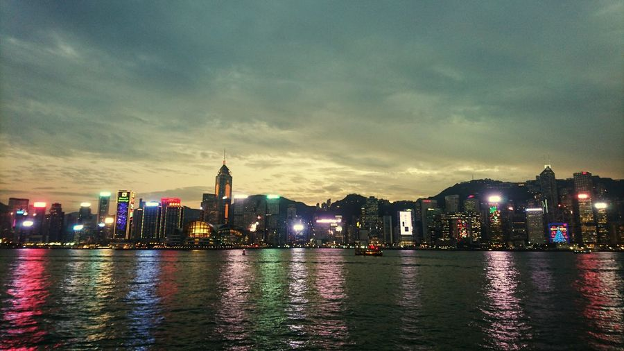Illuminated hong kong waterfront