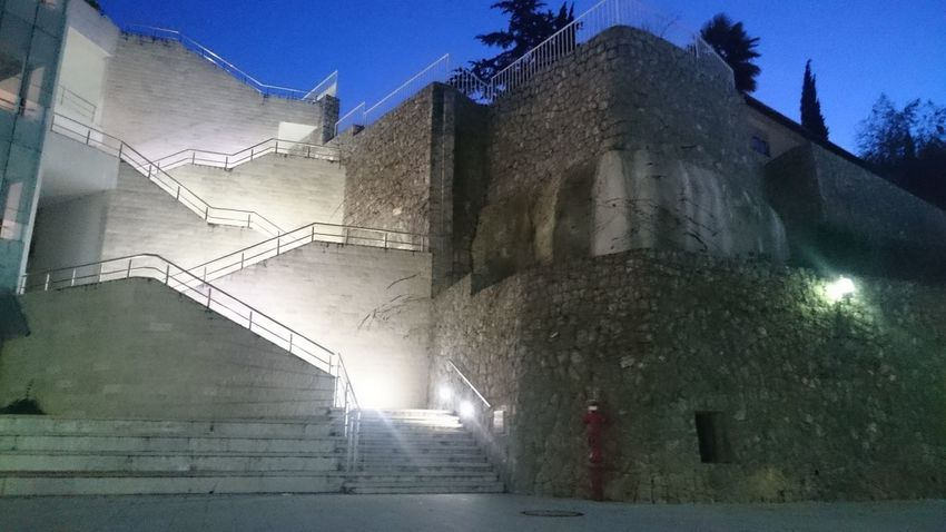 Architecture Built Structure Building Exterior Outdoors No Filter Stairs Stairs & Shadows Stone Wall Night Sky No People