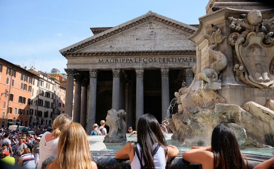 Repost, this time without filters Visitors Girls Pantheon Rome Roman Holiday Piazza Della Rotonda Fountain Landmark Historical Building People Together People And Places Summer Summer In The City