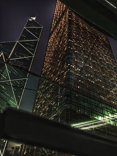 Architecture Built Structure Building Exterior Low Angle View City Illuminated Sky Night No People Skyscraper Outdoors Nightlife Afterwork Hk Nites HongKong Central Tram CityLifeStyle Citylife Weekday Commercial Building