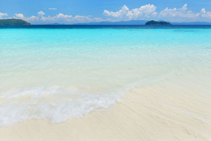 Beautiful blue ocean on sandy beach. Background Background Beach Beauty In Nature Cloud - Sky Day Horizon Over Water Nature No People Nyaung Oo Phee Island Outdoors Sand Scenics Sea Seascape Shore Sky Tranquil Scene Tranquility Water Wave