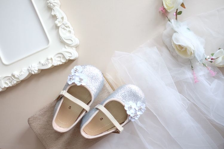 Kids shoes Flower Girls Silver Shoes Shoes For Today Kidsshoes Celebration Wedding White Color Event Shoe Wedding Dress Indoors  Fashion High Angle View Personal Accessory Pair