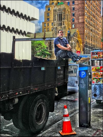 Sittin' on Top of the Truck - 7/11/16 As I Sees It Creative Blending Of Images W/ Layers In PS CC2016 EyeEm StreetPhotography, NYC Fresh On Market July 2016 IPhone Creative Edits W/ Snapseed Opportunistic Images On The Go