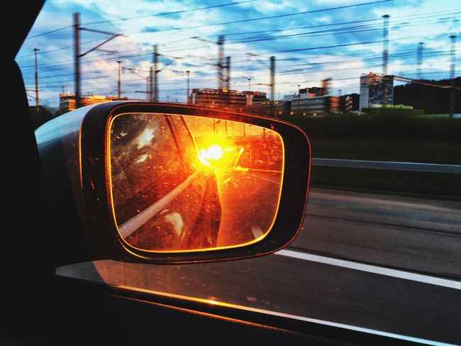 Mirror Carmirror Sunset What Lies Beyond... Sun In The Mirror Industrial Landscapes Industry Industrial