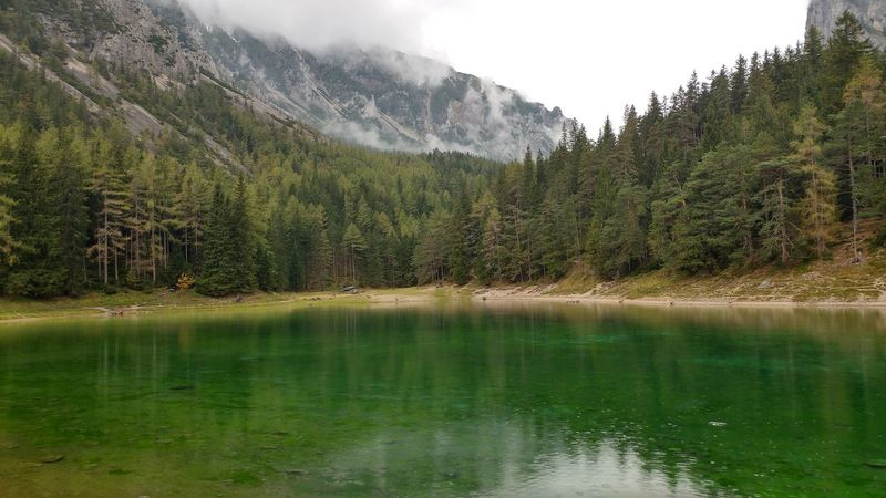 Tranquil Scene Water Tranquility Scenics Mountain Lake Reflection Beauty In Nature Waterfront Nature Idyllic Non-urban Scene Remote Calm Majestic Green Color Day Outdoors Sky Mountain Range Alpes Austria Grüner See Shades Of Winter