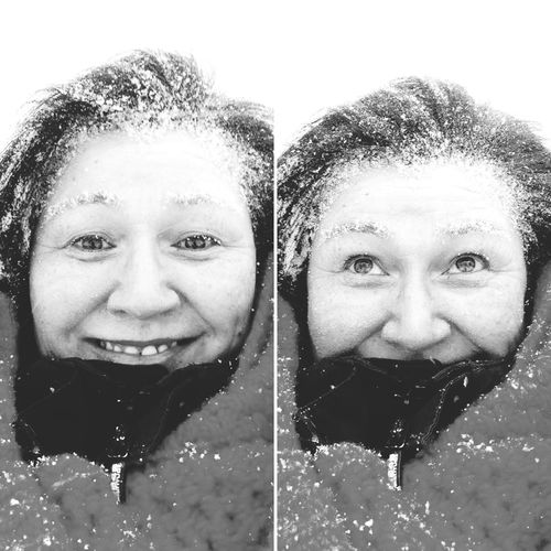 Blackandwhite Its A Beautiful Day Wonderfuld Greenland Snowing Snow In My Hair Portrait Headshot Smiling Happiness Looking At Camera Front View People Young Adult Lifestyles Women Real People Young Women Enjoyment Human Face Cheerful Adult