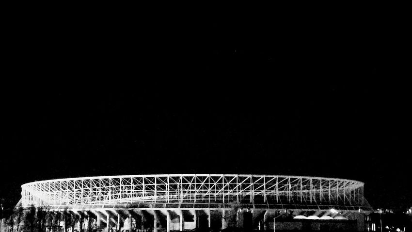Ernst Happel Stadium Vienna Smartphonephotography Blackandwhite Outdoors Illuminated Building Exterior Built Structure Night City Architecture No People Austrianphotographers