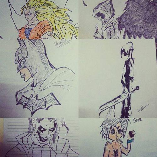 Sketches Sketch Hobbie Batman Anime Joker Angel Emo Goku DBZ Batmanvsuperman DC Whysoserious Batshitcrazy Timepass