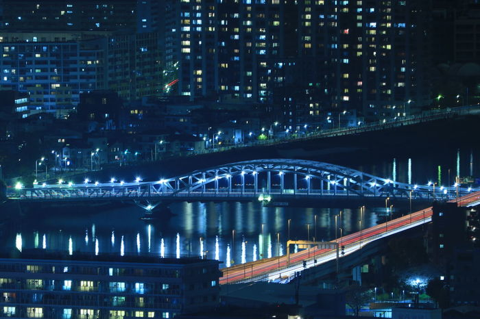 Night Illuminated Cityscape Skyscraper Tokyo Japan Riverscape River View Nightphotography Nightscape Nightview Sumida River Tokyo Sumida River Bridge