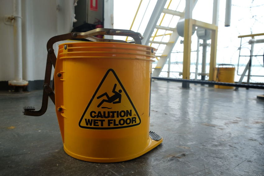 Caution Safety Yellow Danger Text Occupational Safety And Health Bucket Safety First Tool Mopping