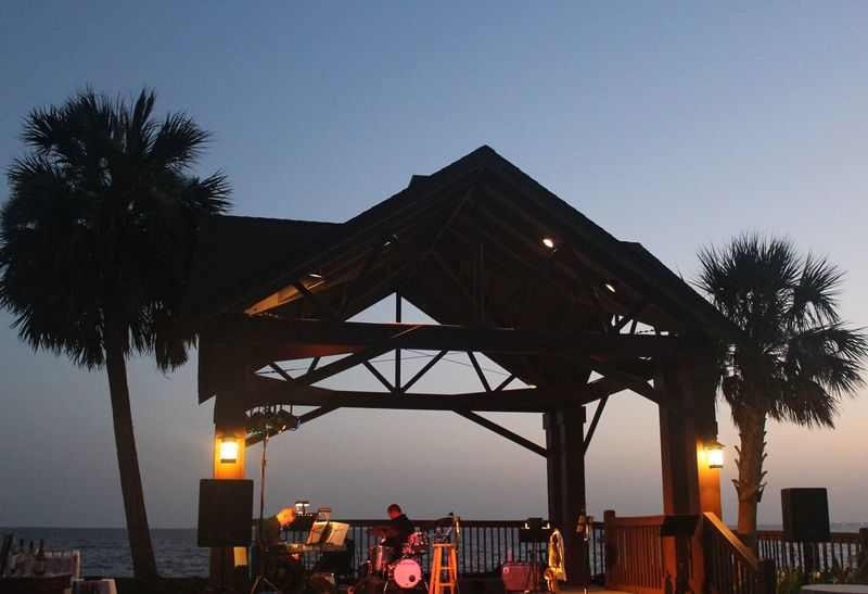 Travel Destinations Built Structure Sea Tree Sky Palm Tree Outdoors Clear Sky Water Beach Vacations Band Pier Sunset Sun Marriott Alabama Alabamasunset