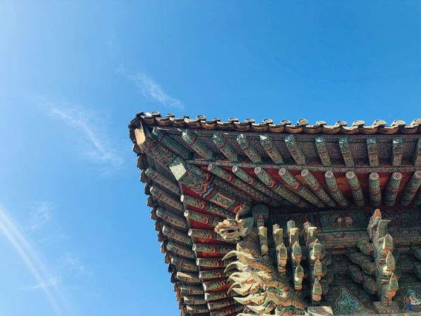 Sky Architecture Built Structure Low Angle View Blue Building Exterior Day Nature No People Sunlight Outdoors Pattern