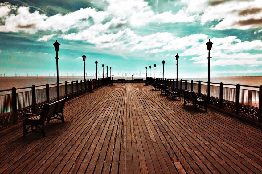 The Pier, Skegness. Sea Seaside Ocean Pier Sky Clouds Bright Sunny Sunny Day Day Boardwalk Lamppost Bench Benches Seat Seats Fine Art Travel Travel Photography Coast Coastal