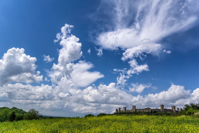 Landscape of Monteriggioni (Tuscany) Blue Sky Blue Sky And Clouds Italian Landscapes Italy Middle Ages Middle Ages Town Monteriggioni No People Outdoors Tuscany Landscape Yellow Flowers
