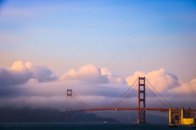 Golden gate bridge in the clouds