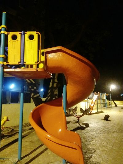 Night Photography Playground Slide Playtime Outdoor Playtime Nightlife Clear Sky No People, Illuminated Play Park