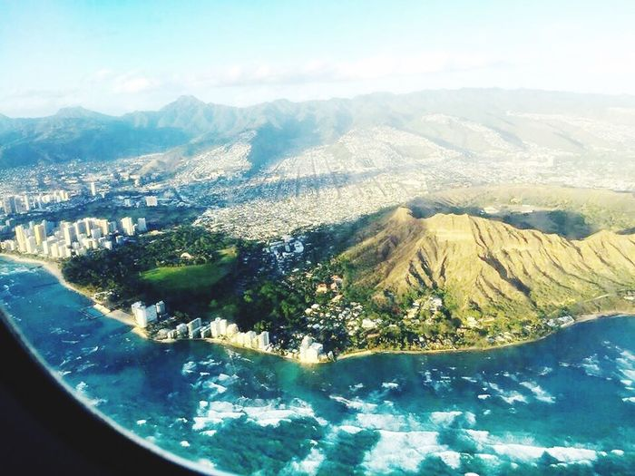 View from the top. USA Honolulu, Hawaii Diamond Head Crater From The Plane Window Plane View Mountain Scenics - Nature Water Beauty In Nature Nature Day No People