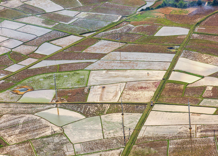 Preparing for the new season Agriculture High Angle View Patchwork Landscape Water