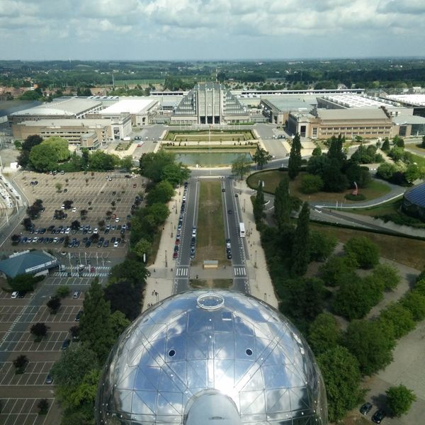 Aerial View Architecture Building Built Structure Famous Place International Landmark Top Perspective Atomium Brussels Bruxelles Brussel