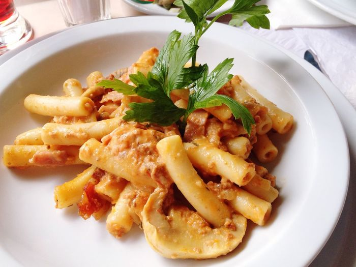 Close-Up Of Pasta Served On Table