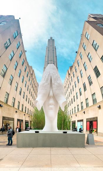 Rockerfellercenter Architecture Representation Sky Human Representation Built Structure Sculpture Art And Craft Incidental People Building Exterior Religion Spirituality Nature Creativity Male Likeness Building Travel Destinations Statue Day Cloud - Sky Belief