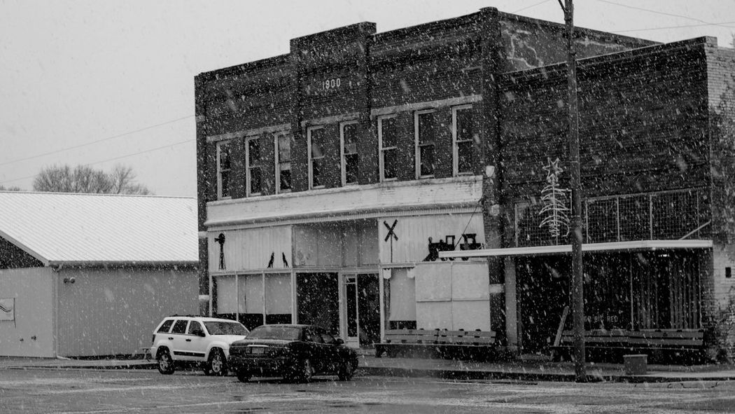Visual Journal December 3, 2016 Western, Nebraska (Fujifilm Xt1,Canon FD 50mm f/1.8 ) edited with Google Photos. A Day In The Life B&W Collection B&w Photography Building Exterior Built Structure Camera Work Day Everyday Lives Eye For Photography EyeEm Best Shots FUJIFILM X-T1 Main Street Manual Focus Manual Mode Photography Nifty Fifty No People Outdoors Photo Diary Photography Rural America Small Town Stories Snowing Visual Journal Winter